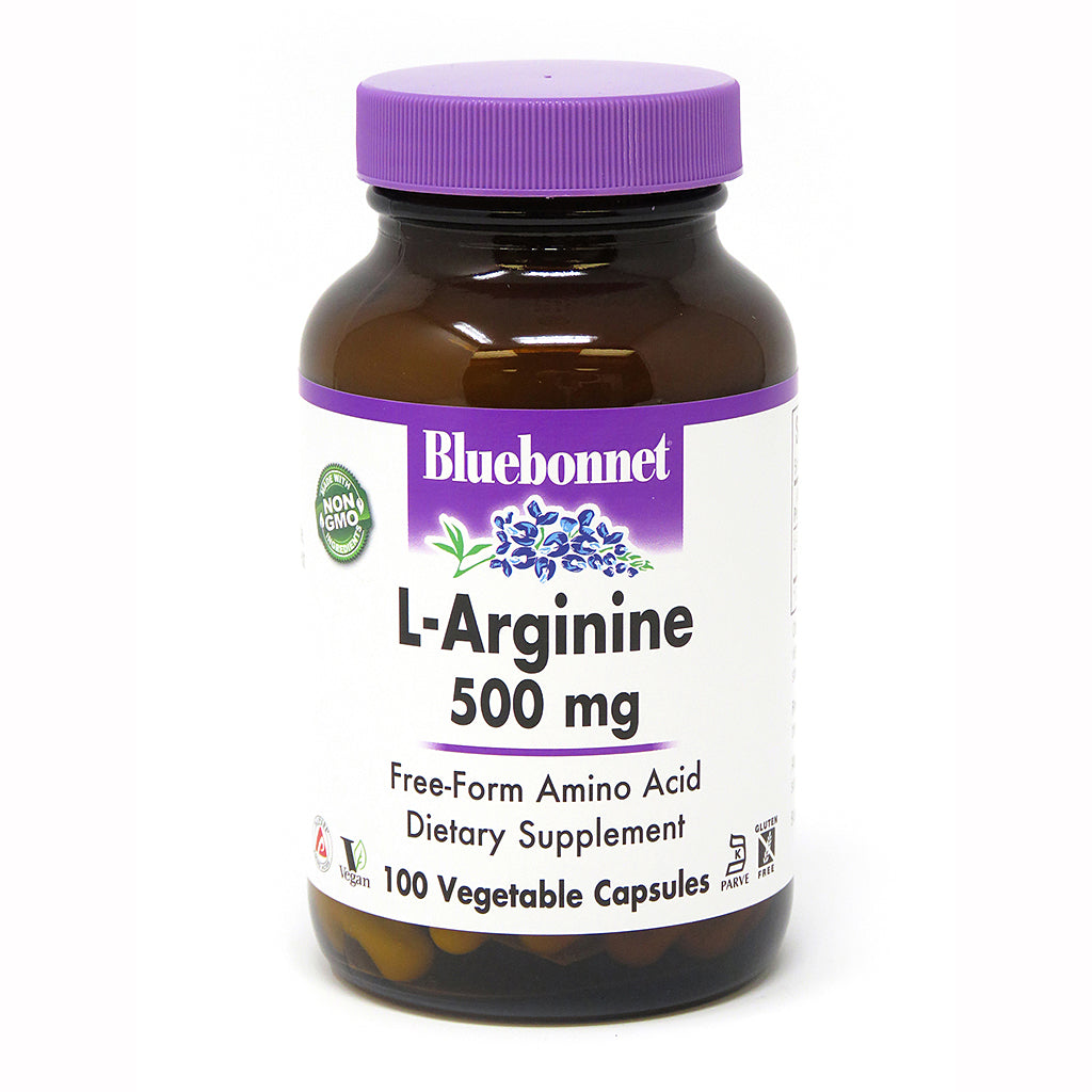 A bottle of Bluebonnet L-Arginine 500 Mg