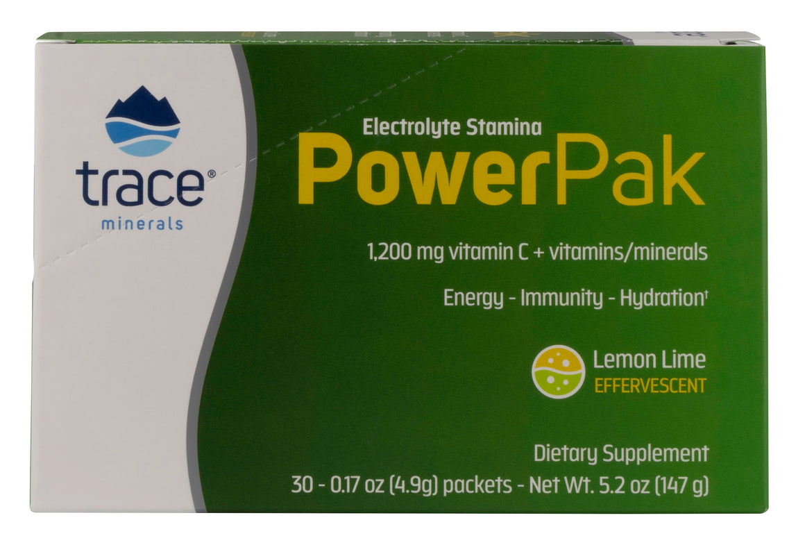 A package of Trace Minerals Electrolyte Stamina Power Pak NON-GMO Lemon Lime