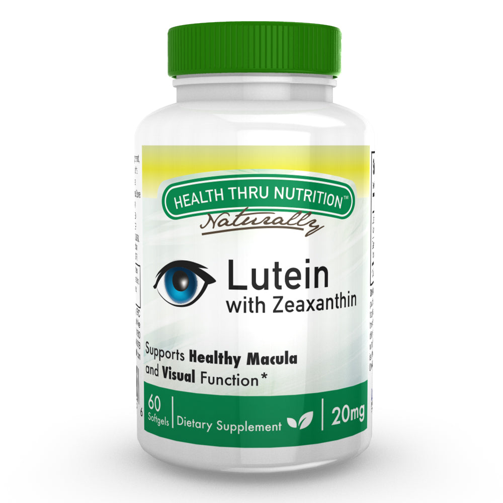 A bottle of Health Thru Nutrition Lutein 20mg with Zeaxanthin