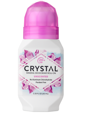 A bottle of Crystal Body Deodorant Roll-On Unscented