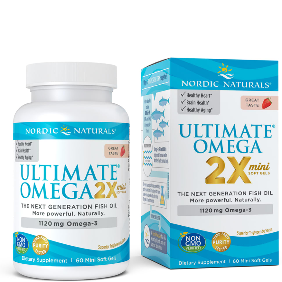 A bottle and package of Nordic Naturals Ultimate Omega® 2X Mini