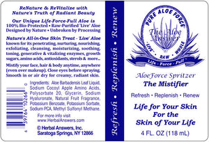 The Label for Herbal Answers Aloe Force Mistifier Spray 4 oz (118 ml)