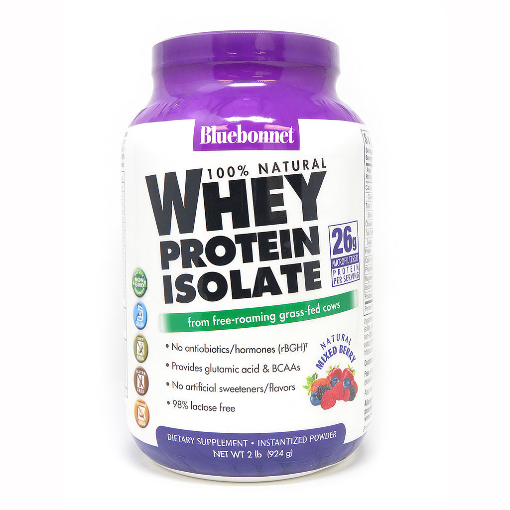 A bottle of Bluebonnet Whey Protein Isolate Powder Mixed Berry