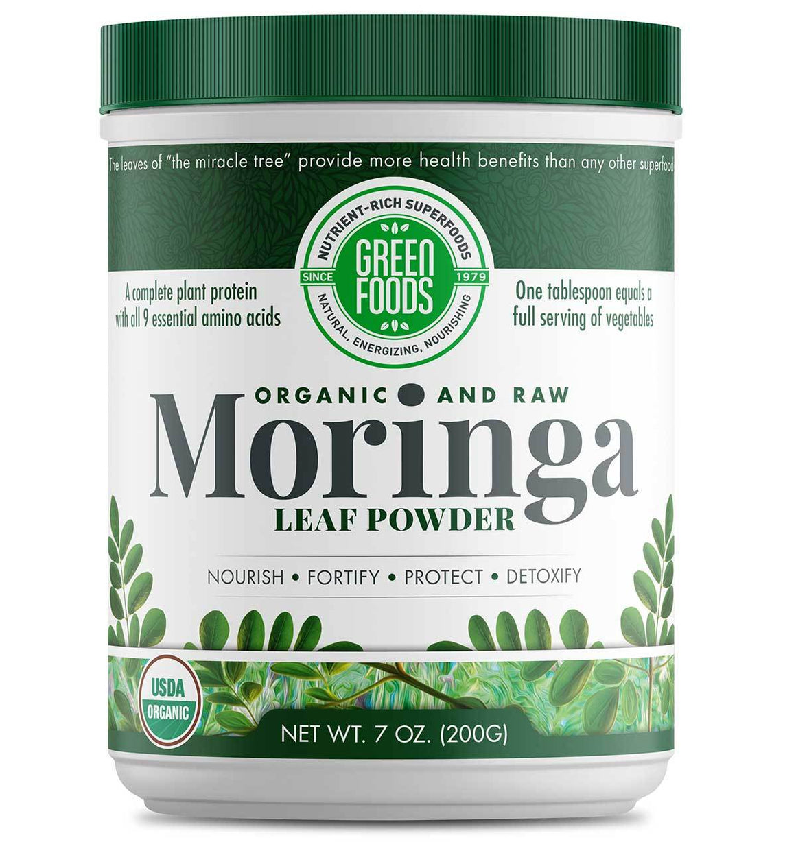 A jar of Green Foods Moringa Leaf Powder