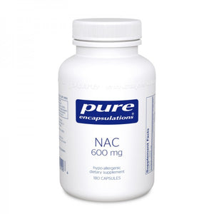 A bottle of Pure NAC (n-acetyl-l-cysteine) 600 mg