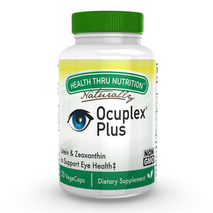 A bottle of Health Thru Nutrition Ocuplex® Plus