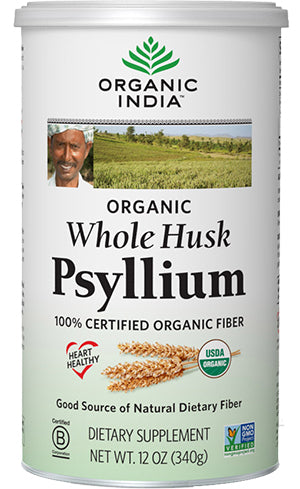 A jar of Organic India Whole Husk Psyllium 12 oz