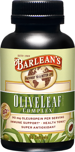 A bottle of Barleans Olive Leaf Complex Softgels