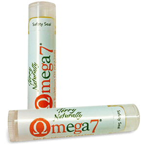 Two tubes of Terry Naturally Omega-7 Lip Balm