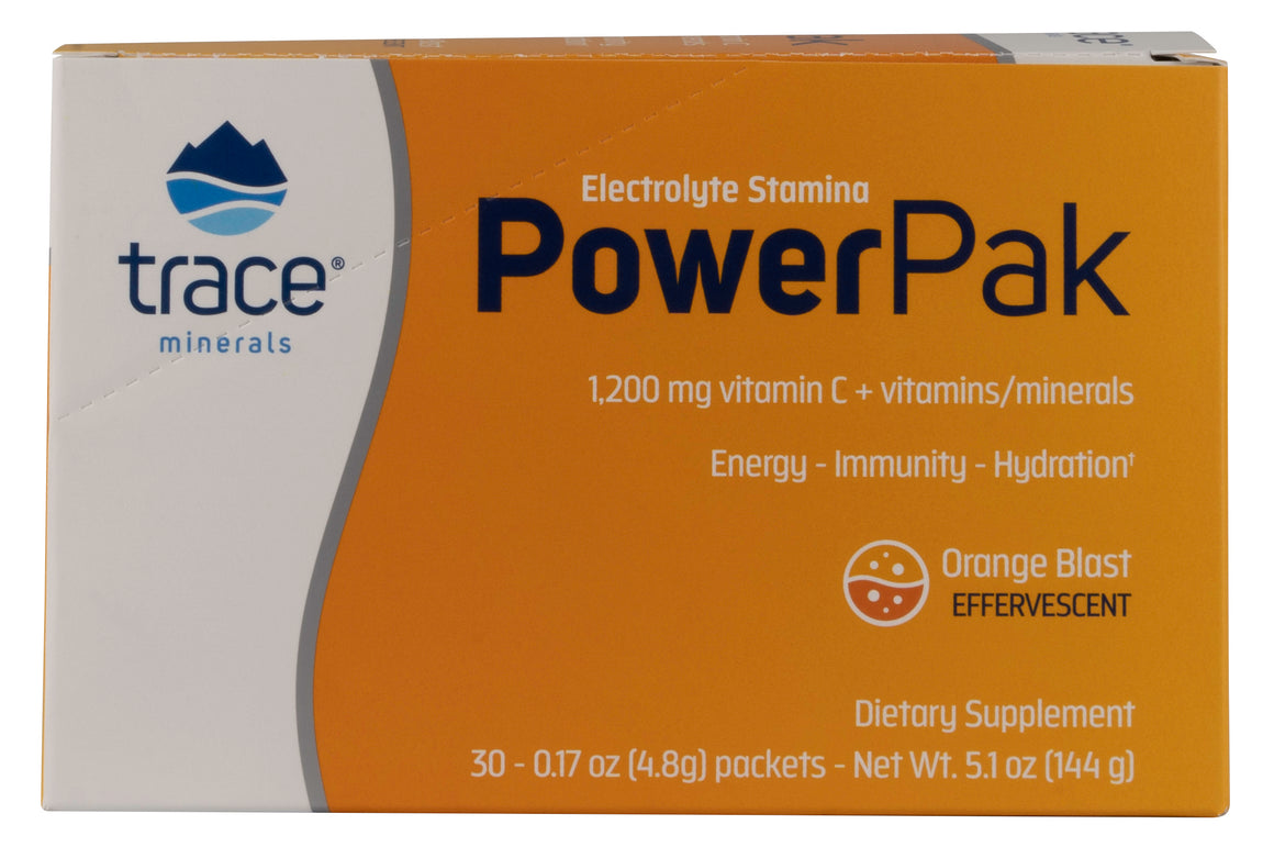 A package of Trace Minerals Electrolyte Stamina Power Pak NON-GMO Orange Blast
