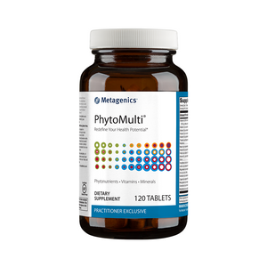 A bottle of Metagenics PhytoMulti® Iron Free