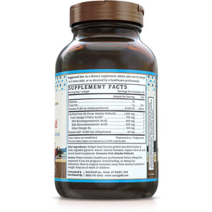 Back of bottle with supplemental facts for NutriGold Omega-3 + CoQ10 + D3 Gold