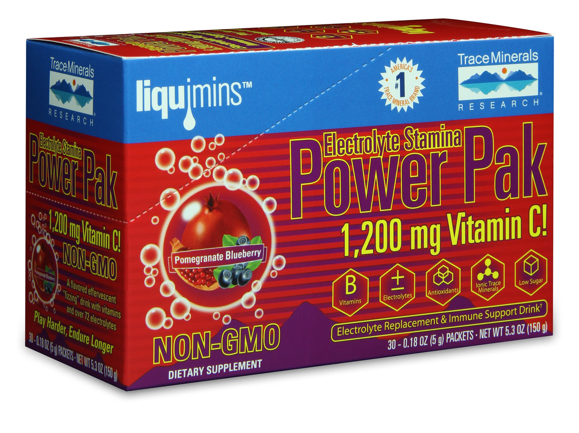 A package of Trace Minerals Electrolyte Stamina Power Pak NON-GMO Pomegranate - Blueberry