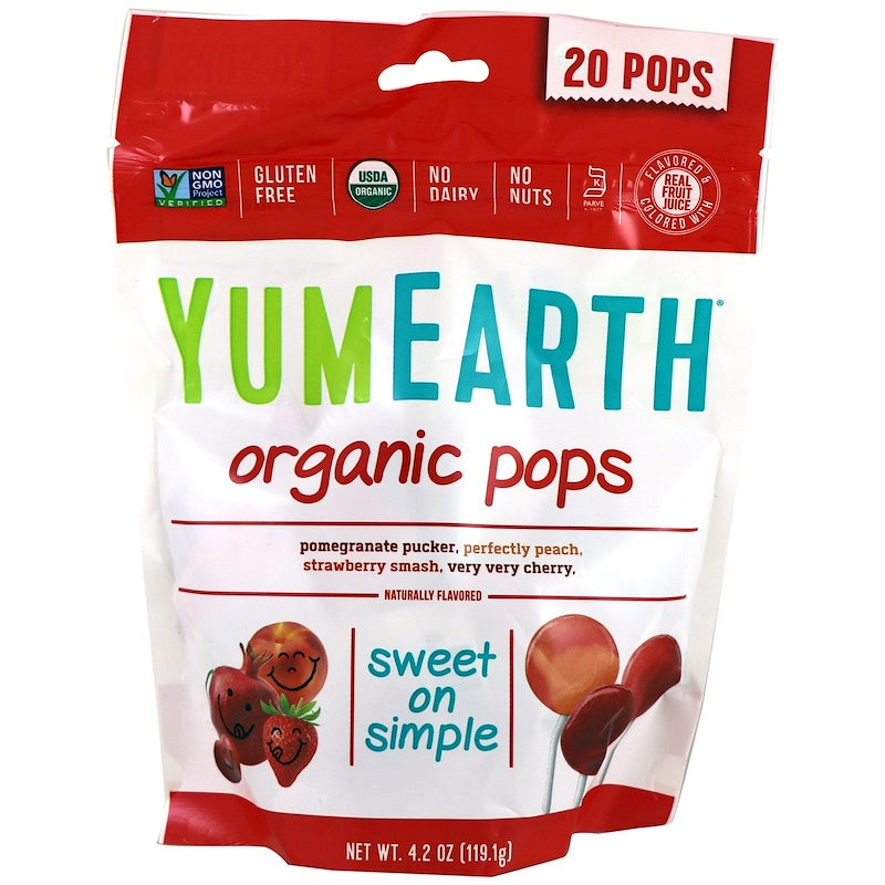 Bag of YumEarth organic lollipops assorted flavors