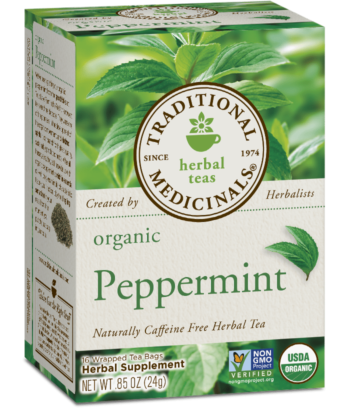 A box of Traditional Medicinals Organic Peppermint Tea
