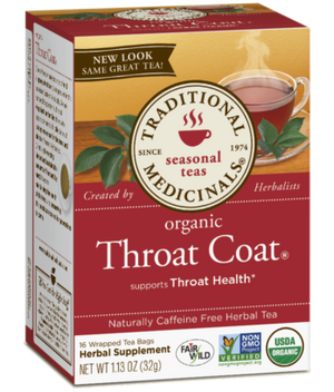 A box of Traditional Medicinals Organic Throat Coat® Tea