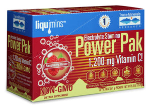 A package of Trace Minerals Electrolyte Stamina Power Pak NON-GMO Raspberry