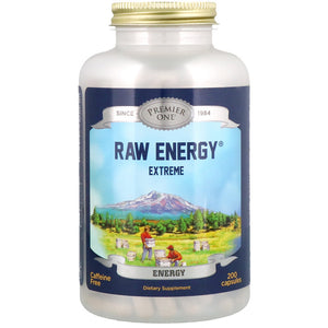 A jar of Premier One Raw Energy Extreme