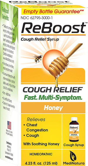 A package of MediNatura ReBoost™ Cough Relief Syrup Honey Flavor