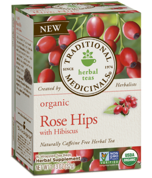 A box of Traditional Medicinals Organic Rose Hips with Hibiscus Tea