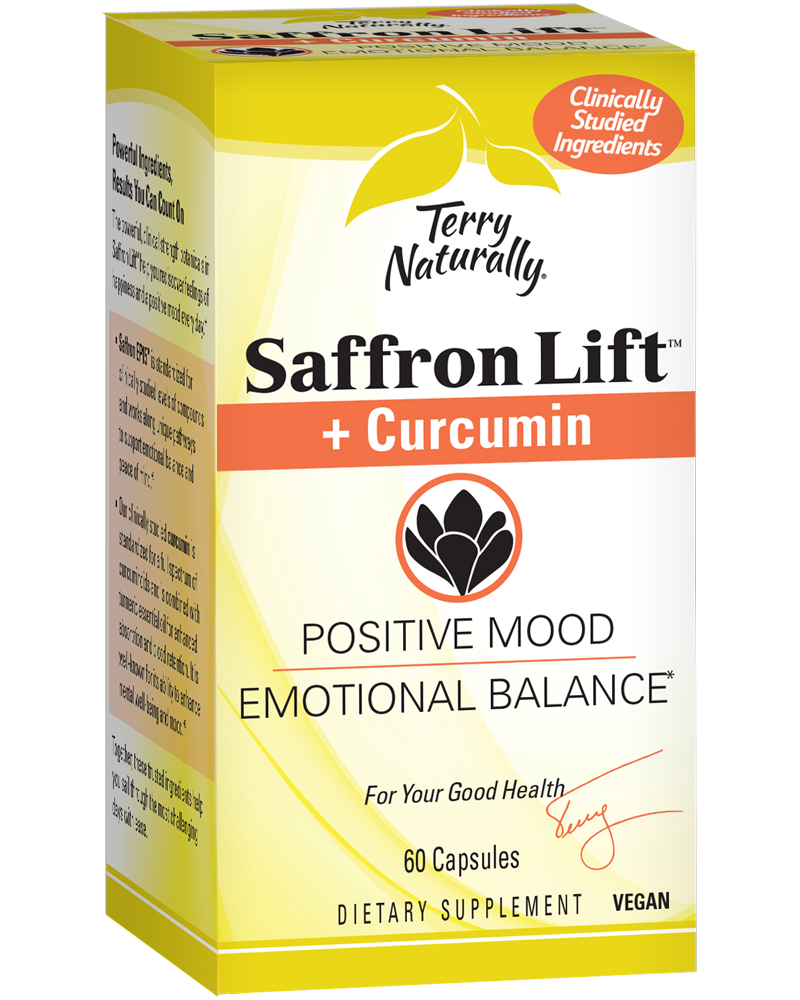 A package of Terry Naturally Saffron Lift + Curcumin