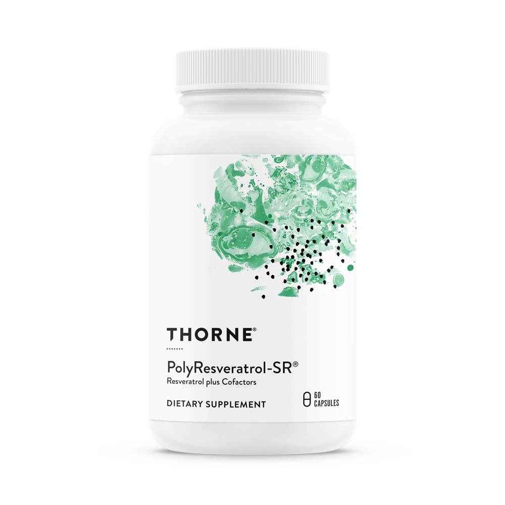 A bottle of Thorne PolyResveratrol-SR®