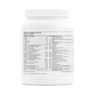 A side of jar with supplemental facts for Thorne MediClear Plus®