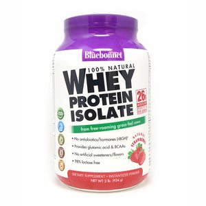 A bottle of Bluebonnet Whey Protein Isolate Powder Strawberry