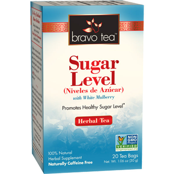 A box of Bravo Tea Sugar Level Tea