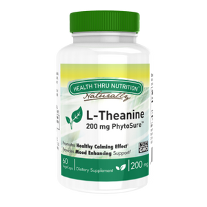A bottle of Health Thru Nutrition L-Theanine 200mg