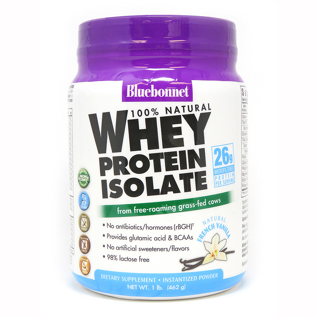A bottle of Bluebonnet Whey Protein Isolate Powder French Vanilla
