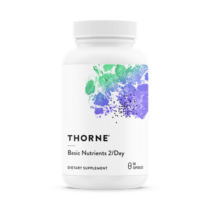 A bottle of Thorne Basic Nutrients 2/Day - NSF Certified for Sport