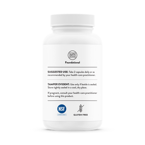 Side of the bottle with additional information for Thorne Basic Nutrients 2/Day - NSF Certified for Sport
