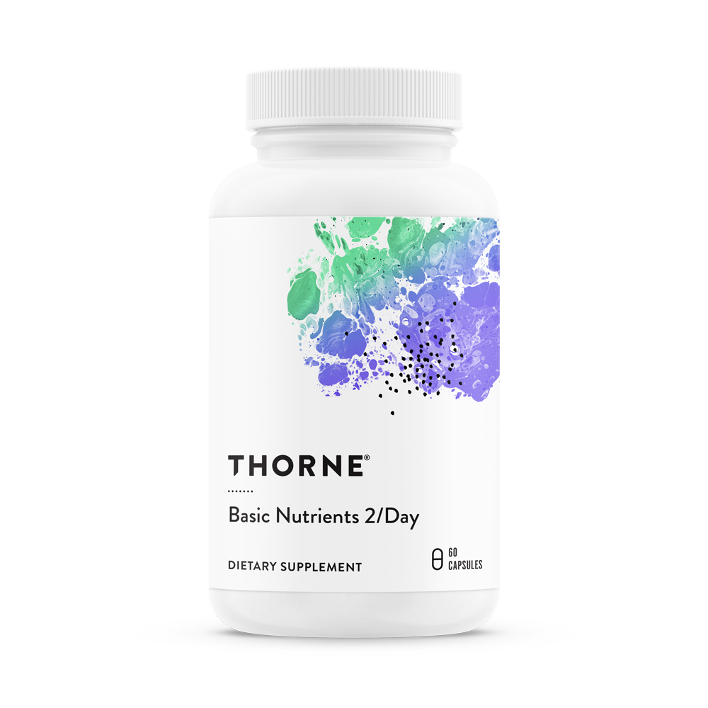 A bottle of Thorne Basic Nutrients 2/Day