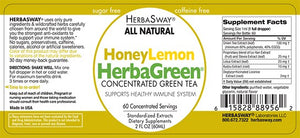 Label with supplemental facts for Herbasway Herbagreen Tea - Honey Lemon