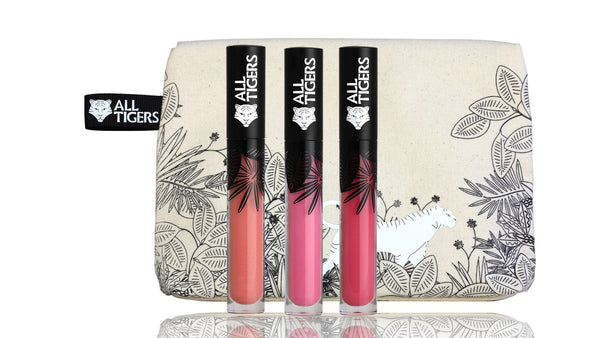 PREORDER ! Set of 3 Liquid Lipsticks PINK BEIGE, PINK, INTENSE PINK & Makeup Pouch