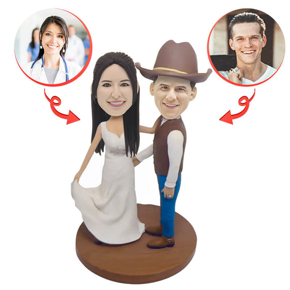Custom Cowboy Wedding Bobbleheads (2)