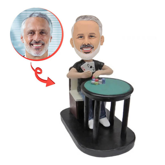 Custom Man Poker Player Bobblehead