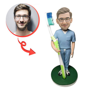 Custom Male Dentist With A Toothbrush Bobblehead