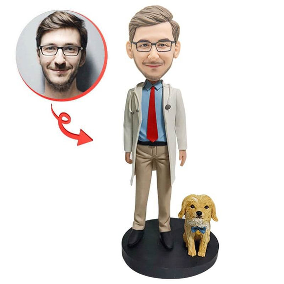 Doctor With Dog Custom Bobblehead