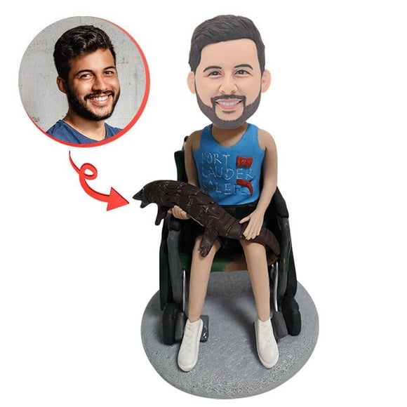 Wheelchair Man and Crocodile Custom Bobblehead