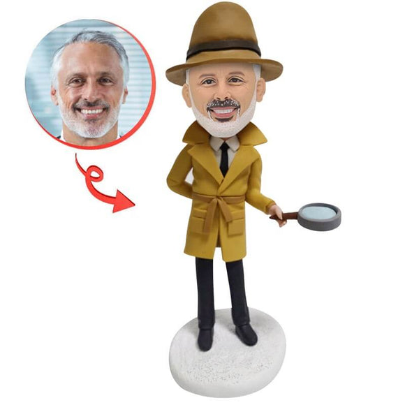Detective Holds a Magnifying Glass Custom Bobblehead