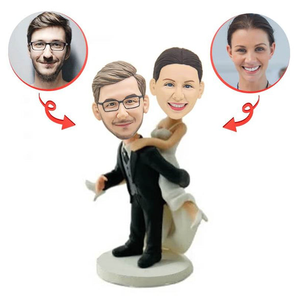 Custom Bride Behind Groom Back Personalised Bobblehead
