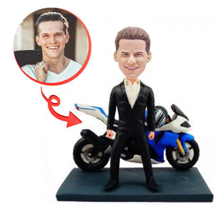 Smart Man With His Motorbike Custom Bobblehead