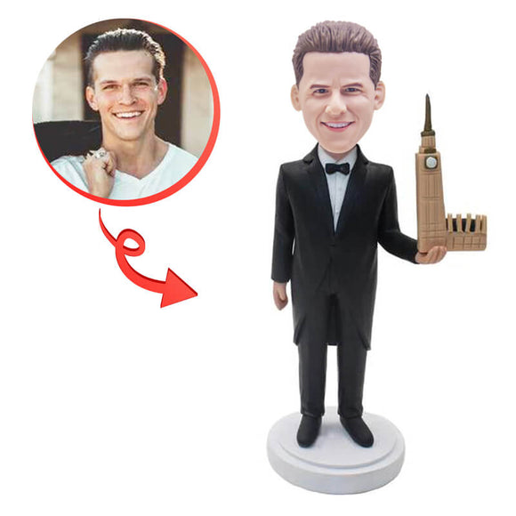Custom Architect With Building Model Bobblehead