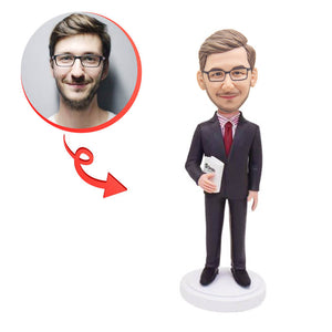 Custom Suit Holding Books Bobblehead