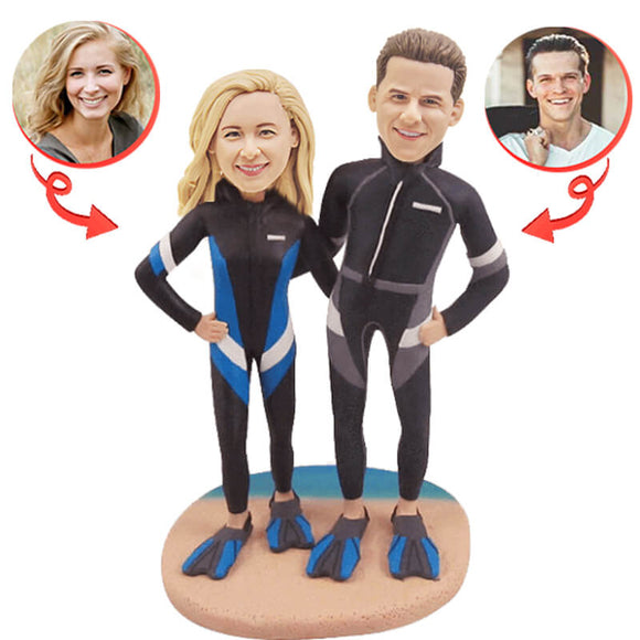 Custom Diving Couple Beach Bobbleheads