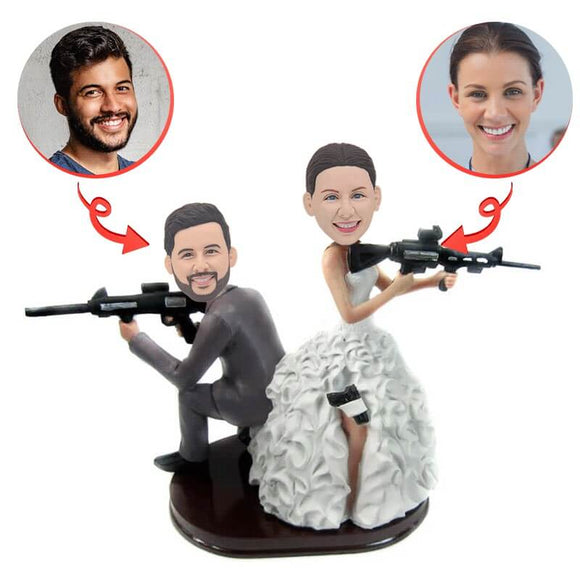 Custom Armed Couple With Rifles Bobblehead