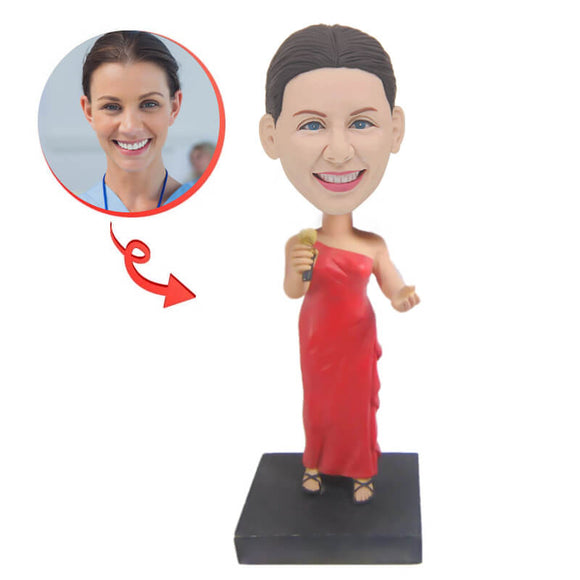 Custom Female Singer In Red Dress Bobblehead