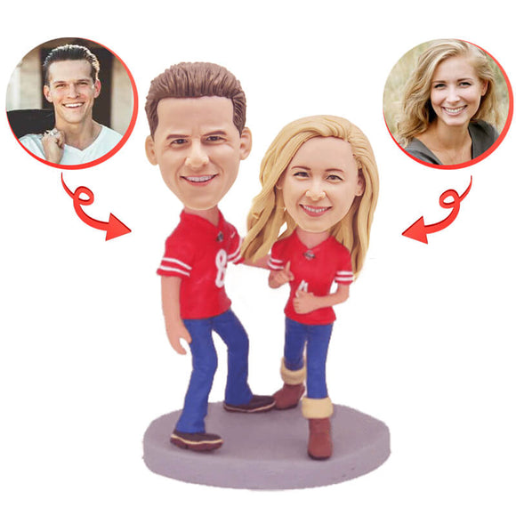 Custom Football Fans Couple Bobbleheads